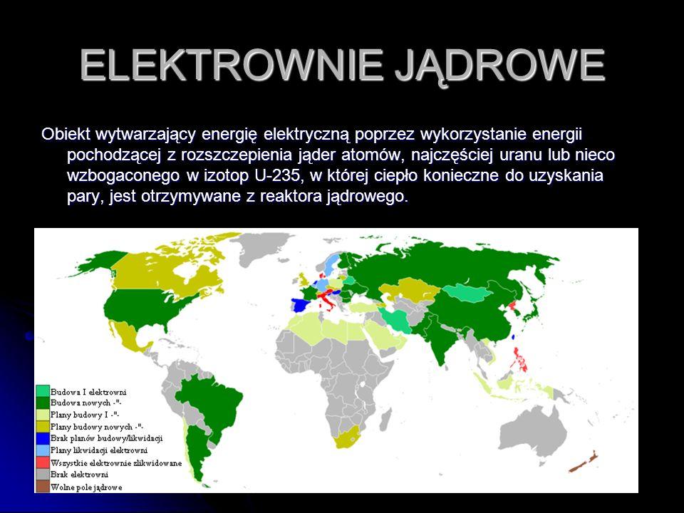 ELEKTROWNIE JĄDROWE Obiekt wytwarzający energię elektryczną poprzez wykorzystanie energii pochodzącej z rozszczepienia jąder atomów, najczęściej uranu lub nieco wzbogaconego w izotop U-235, w której ciepło konieczne do uzyskania pary, jest otrzymywane z reaktora jądrowego.