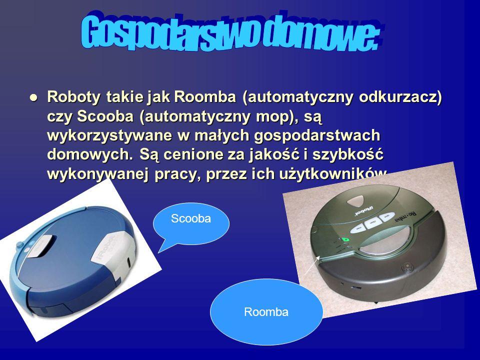 Roboty takie jak Roomba (automatyczny odkurzacz) czy Scooba (automatyczny mop), są wykorzystywane w małych gospodarstwach domowych.