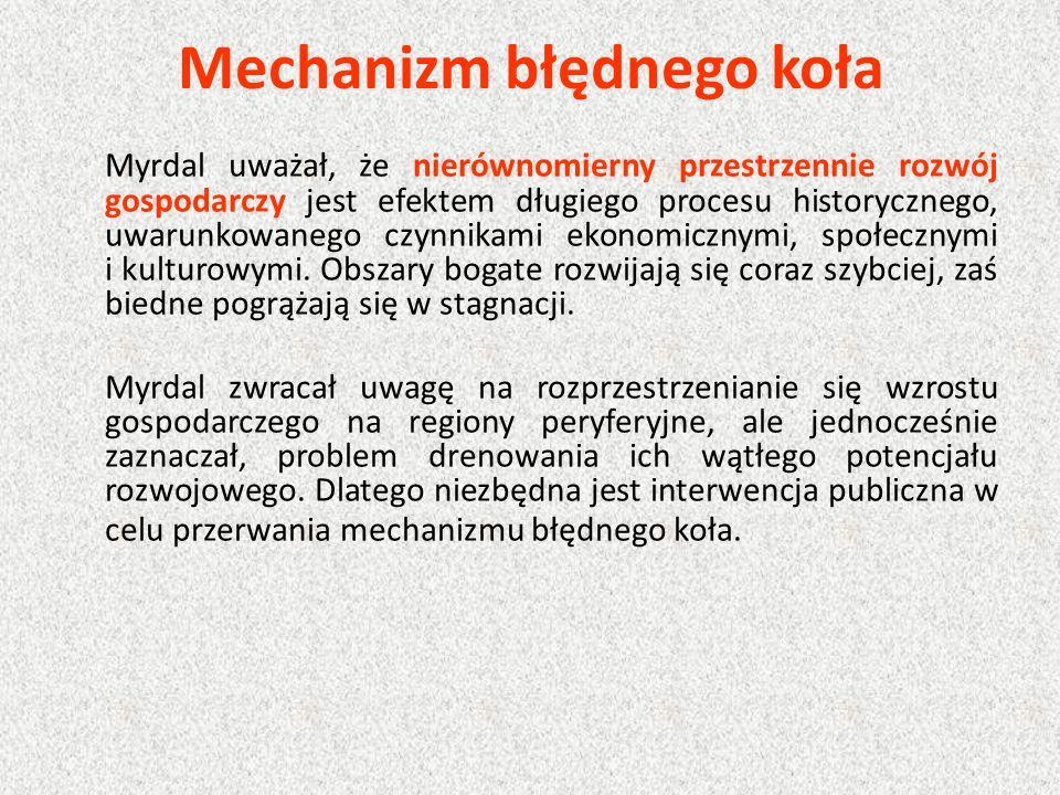 Mechanizm błędnego koła Myrdal uważał, że nierównomierny przestrzennie rozwój gospodarczy jest efektem długiego procesu historycznego, uwarunkowanego czynnikami ekonomicznymi, społecznymi i kulturowymi.