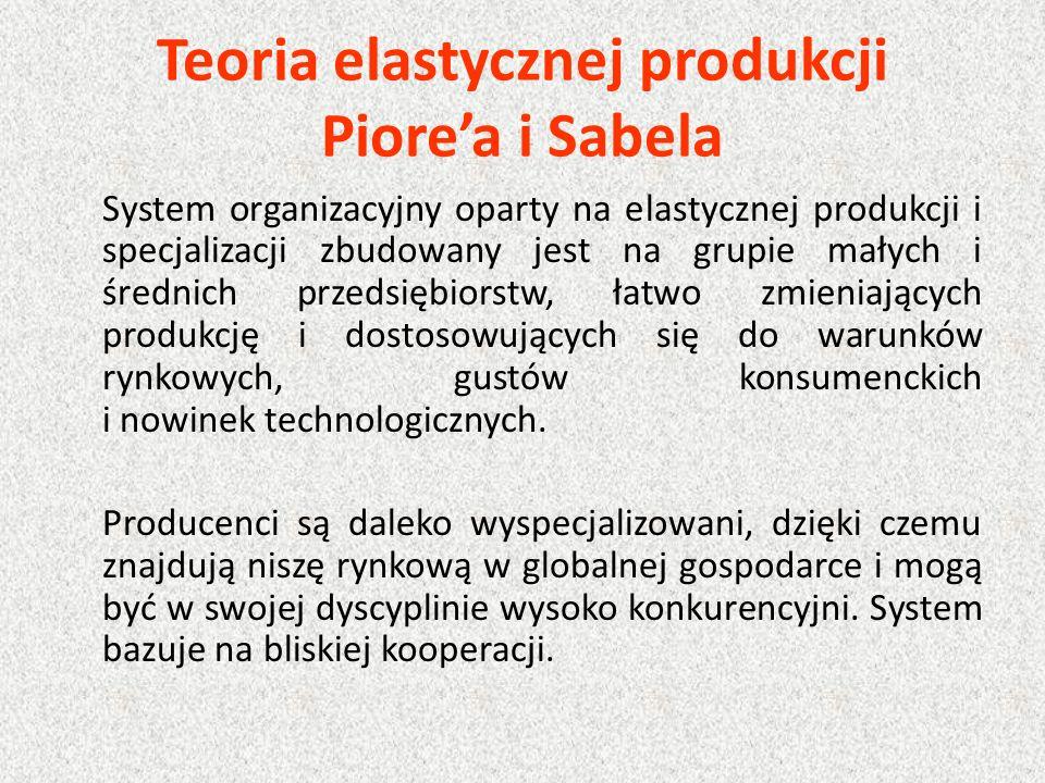 Teoria elastycznej produkcji Piore'a i Sabela System organizacyjny oparty na elastycznej produkcji i specjalizacji zbudowany jest na grupie małych i średnich przedsiębiorstw, łatwo zmieniających produkcję i dostosowujących się do warunków rynkowych, gustów konsumenckich i nowinek technologicznych.