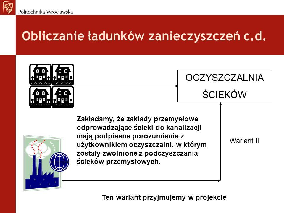 Obliczanie ładunków zanieczyszczeń c.d.