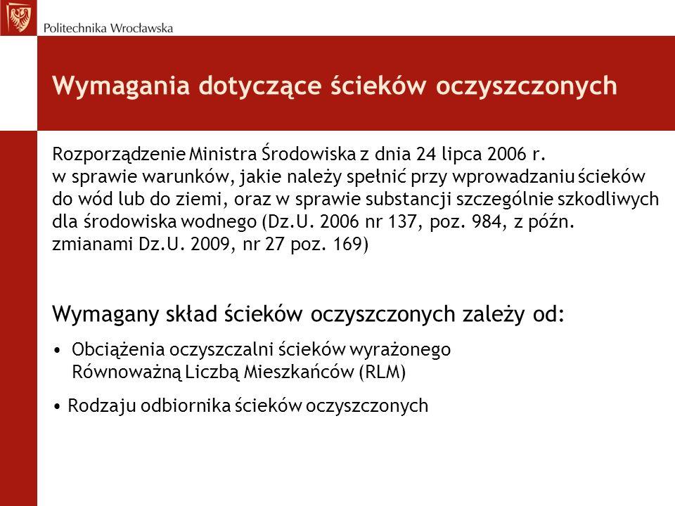Wymagania dotyczące ścieków oczyszczonych Rozporządzenie Ministra Środowiska z dnia 24 lipca 2006 r.