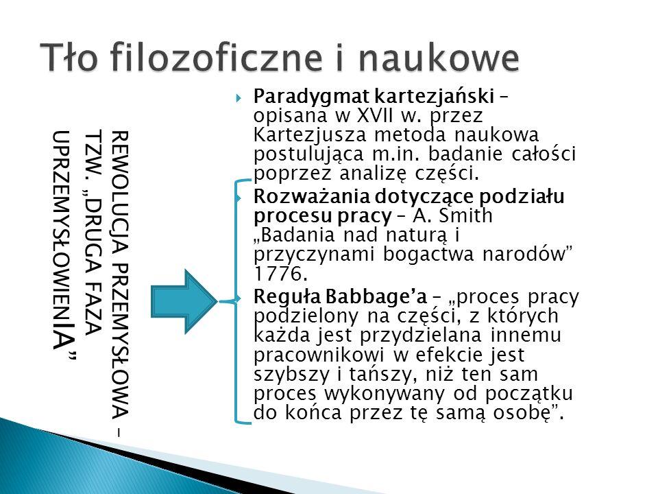  Paradygmat kartezjański – opisana w XVII w. przez Kartezjusza metoda naukowa postulująca m.in. badanie całości poprzez analizę części.  Rozważania
