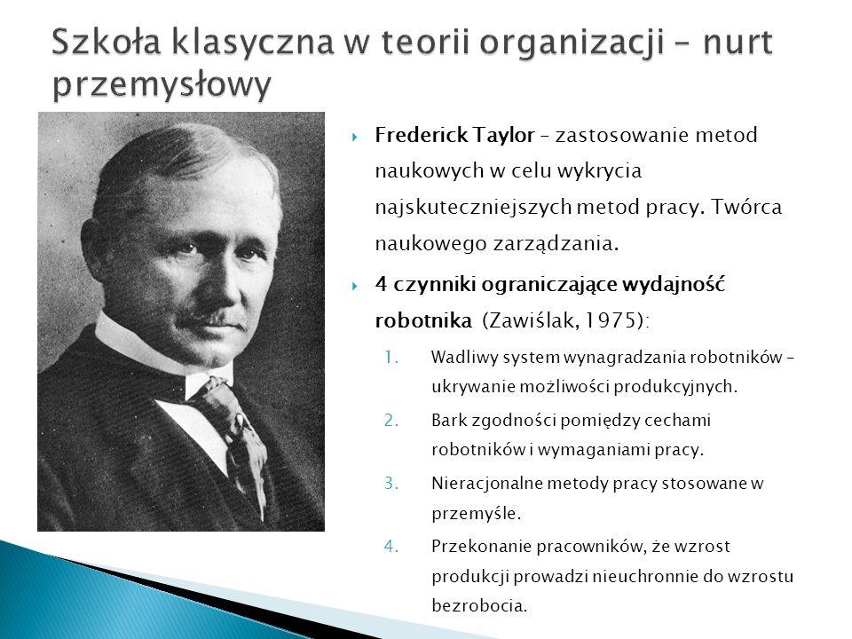  Frederick Taylor – zastosowanie metod naukowych w celu wykrycia najskuteczniejszych metod pracy. Twórca naukowego zarządzania.  4 czynniki ogranicz
