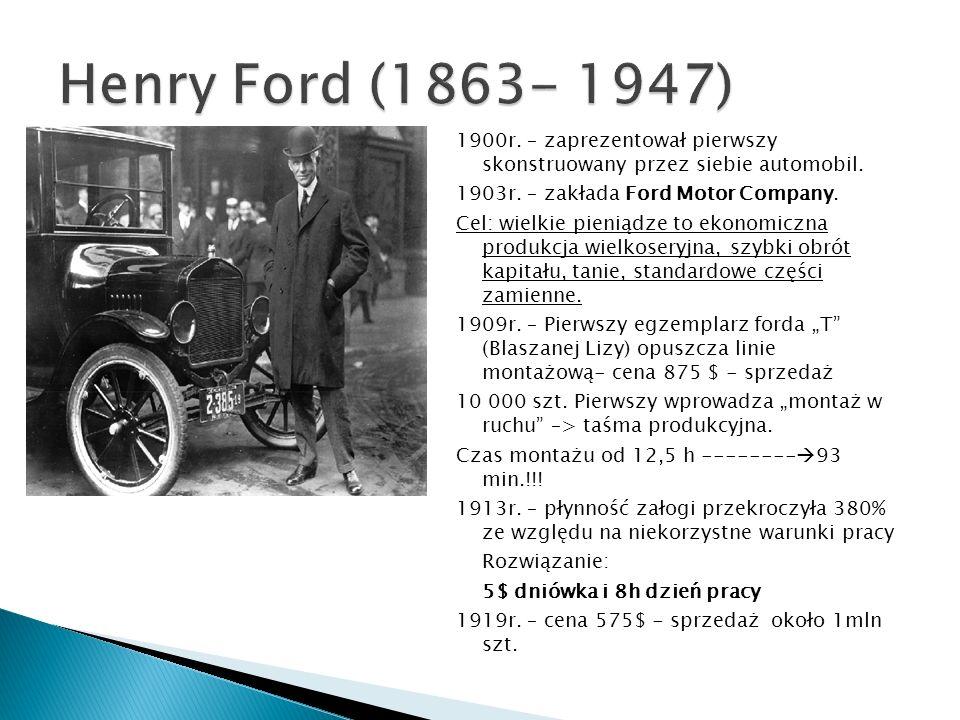 1900r. – zaprezentował pierwszy skonstruowany przez siebie automobil. 1903r. – zakłada Ford Motor Company. Cel: wielkie pieniądze to ekonomiczna produ