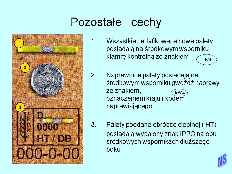 Pozostałe cechy 1.Wszystkie certyfikowane nowe palety posiadają na środkowym wsporniku klamrę kontrolną ze znakiem 2.Naprawione palety posiadają na śr