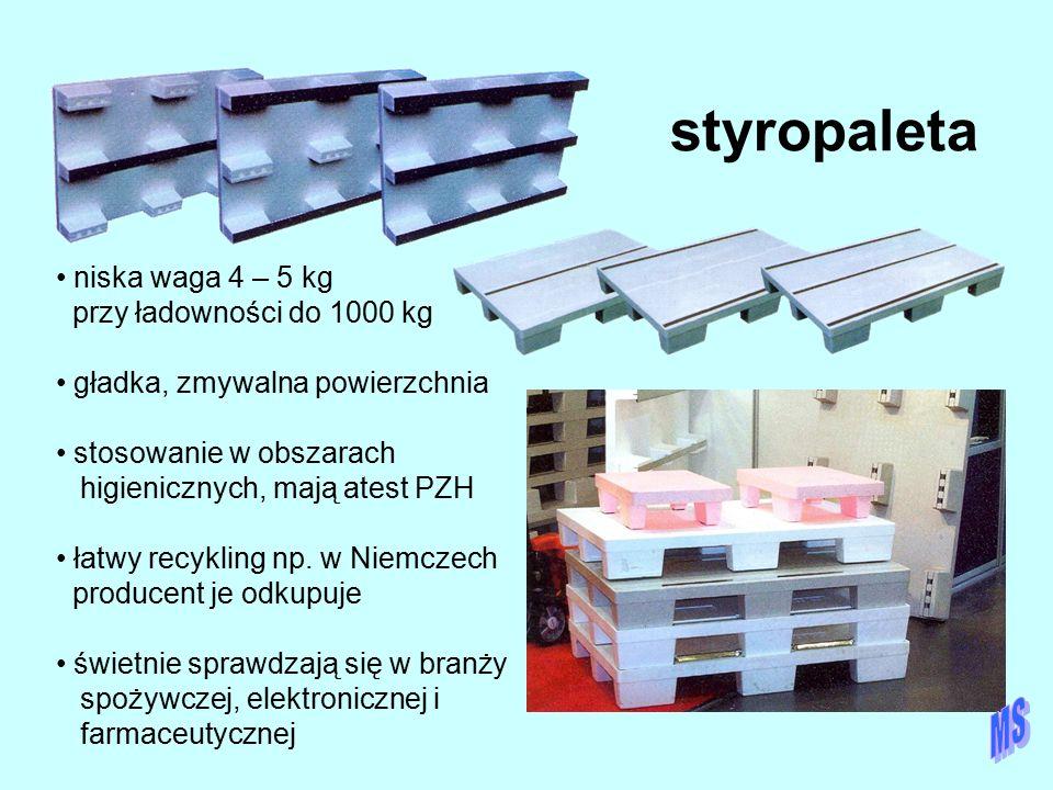 styropaleta niska waga 4 – 5 kg przy ładowności do 1000 kg gładka, zmywalna powierzchnia stosowanie w obszarach higienicznych, mają atest PZH łatwy re