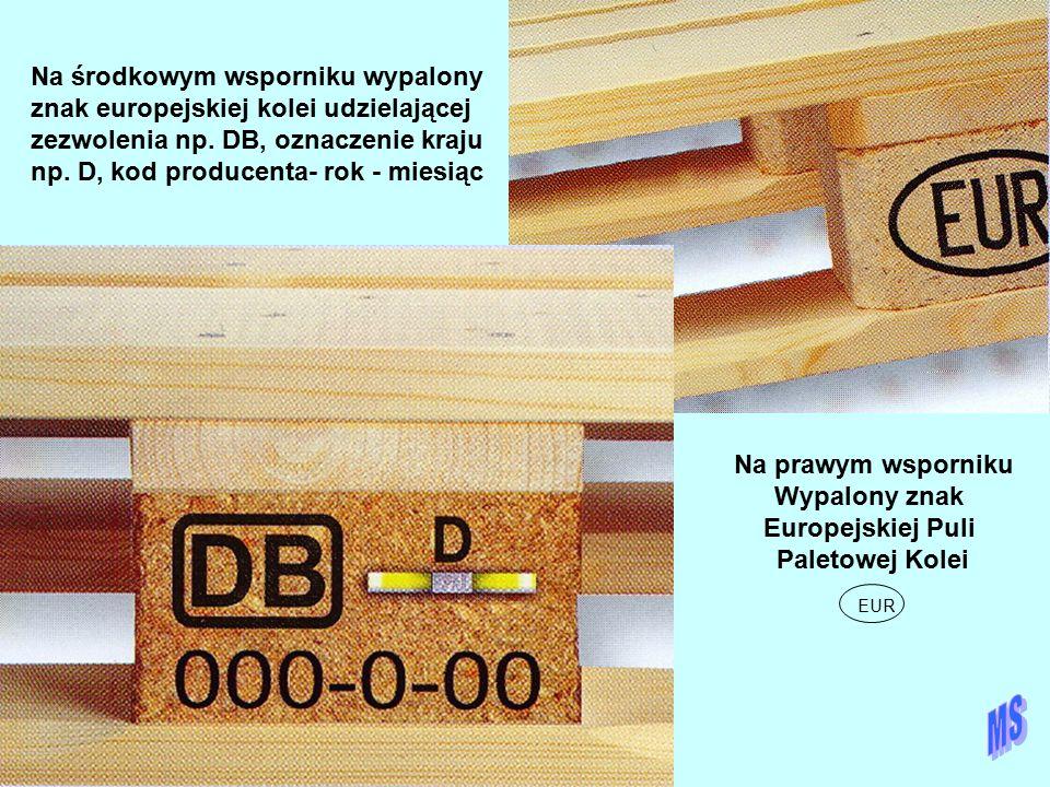 Na środkowym wsporniku wypalony znak europejskiej kolei udzielającej zezwolenia np. DB, oznaczenie kraju np. D, kod producenta- rok - miesiąc Na prawy