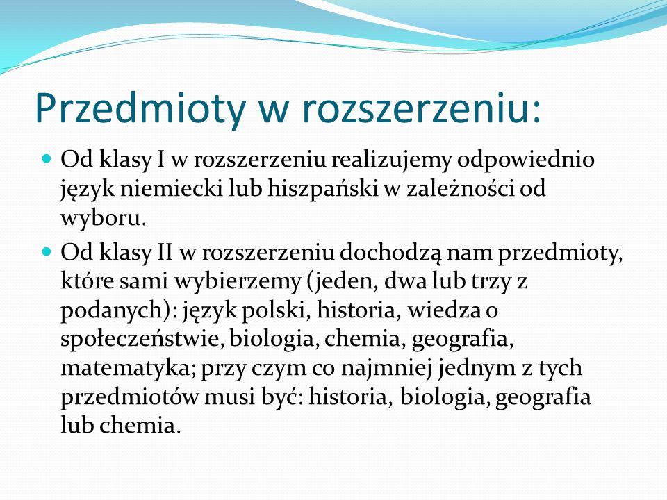 Lekcje prowadzone w języku polskim jak i angielskim: Chemia Geografia Historia