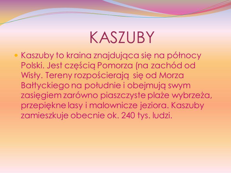 KASZUBY Kaszuby to kraina znajdująca się na północy Polski. Jest częścią Pomorza (na zachód od Wisły. Tereny rozpościerają się od Morza Bałtyckiego na