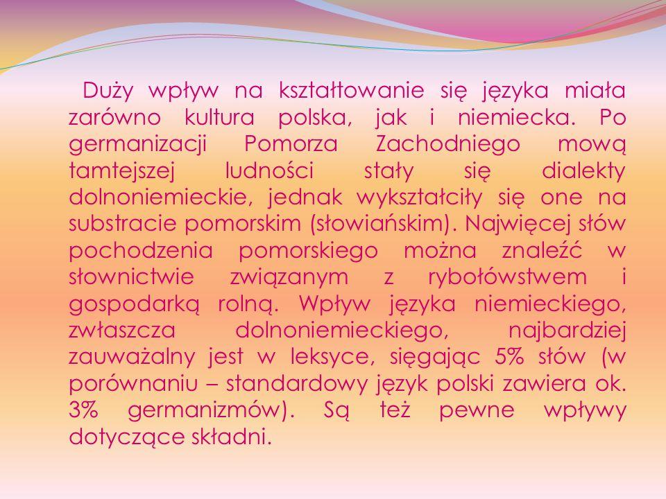 Duży wpływ na kształtowanie się języka miała zarówno kultura polska, jak i niemiecka. Po germanizacji Pomorza Zachodniego mową tamtejszej ludności sta