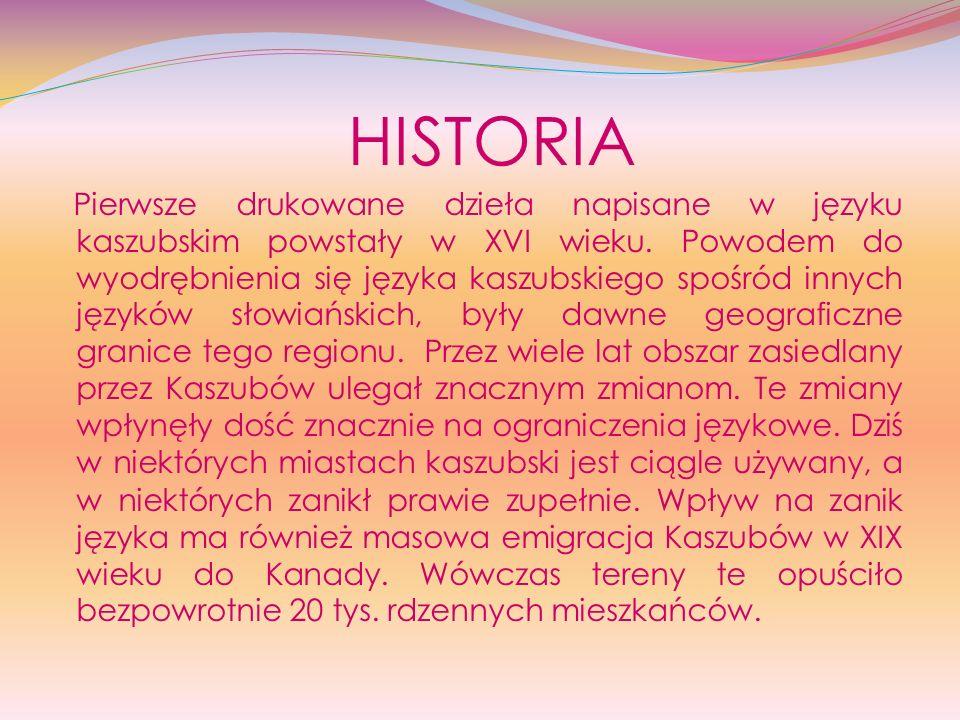 HISTORIA Pierwsze drukowane dzieła napisane w języku kaszubskim powstały w XVI wieku. Powodem do wyodrębnienia się języka kaszubskiego spośród innych