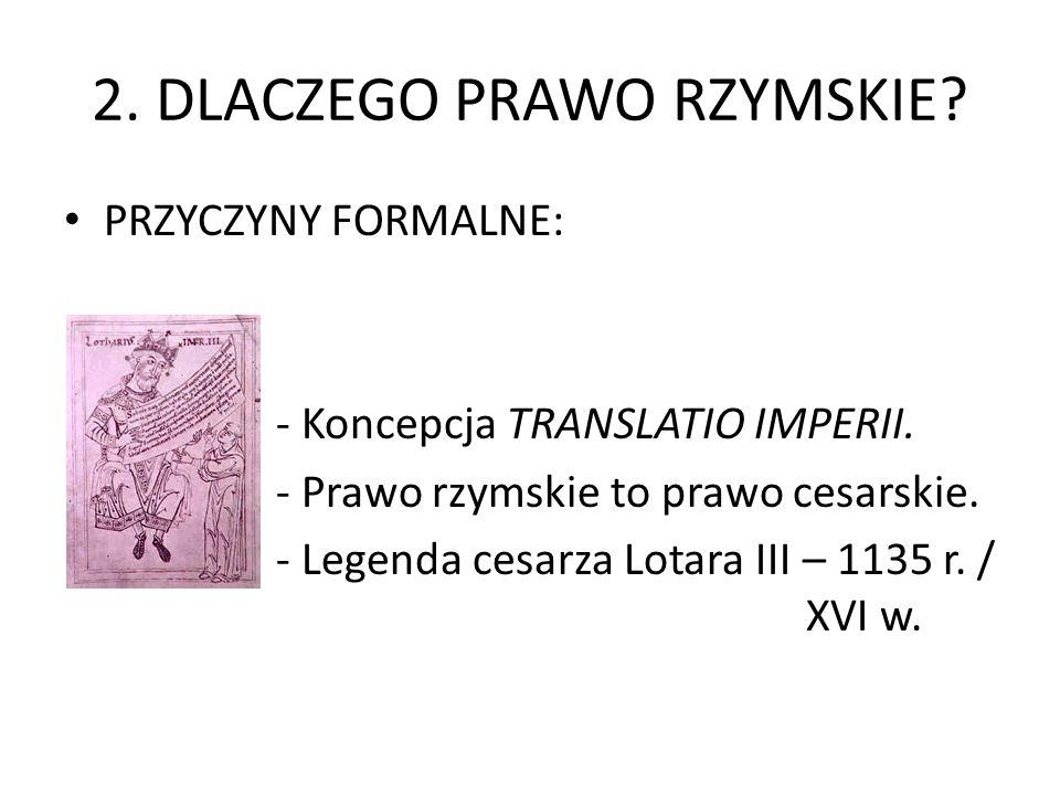 2.DLACZEGO PRAWO RZYMSKIE. PRZYCZYNY FORMALNE: - Koncepcja TRANSLATIO IMPERII.