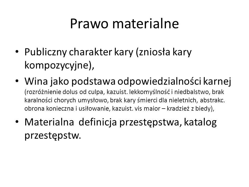 Prawo materialne Publiczny charakter kary (zniosła kary kompozycyjne), Wina jako podstawa odpowiedzialności karnej (rozróżnienie dolus od culpa, kazuist.