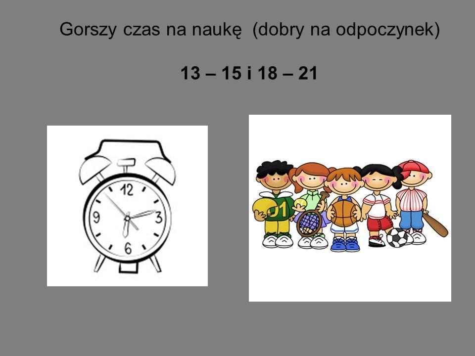 Gorszy czas na naukę (dobry na odpoczynek) 13 – 15 i 18 – 21