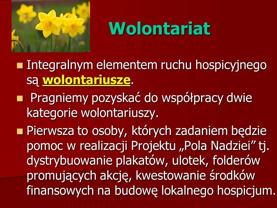 Wolontariat Integralnym elementem ruchu hospicyjnego są wolontariusze.