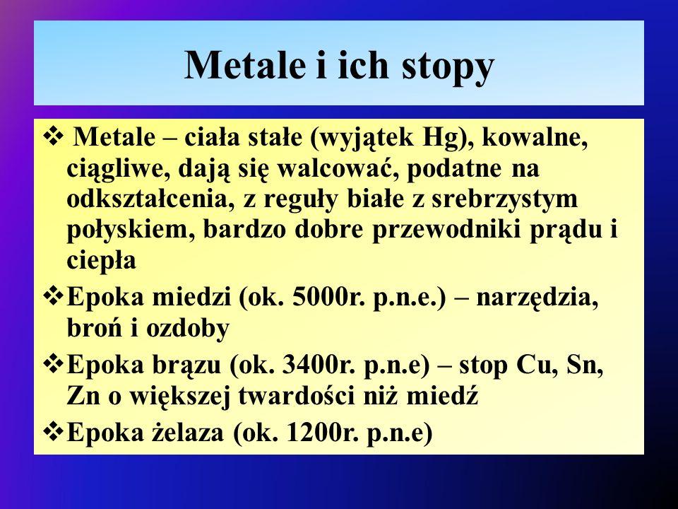 Metale i ich stopy  Metale – ciała stałe (wyjątek Hg), kowalne, ciągliwe, dają się walcować, podatne na odkształcenia, z reguły białe z srebrzystym połyskiem, bardzo dobre przewodniki prądu i ciepła  Epoka miedzi (ok.
