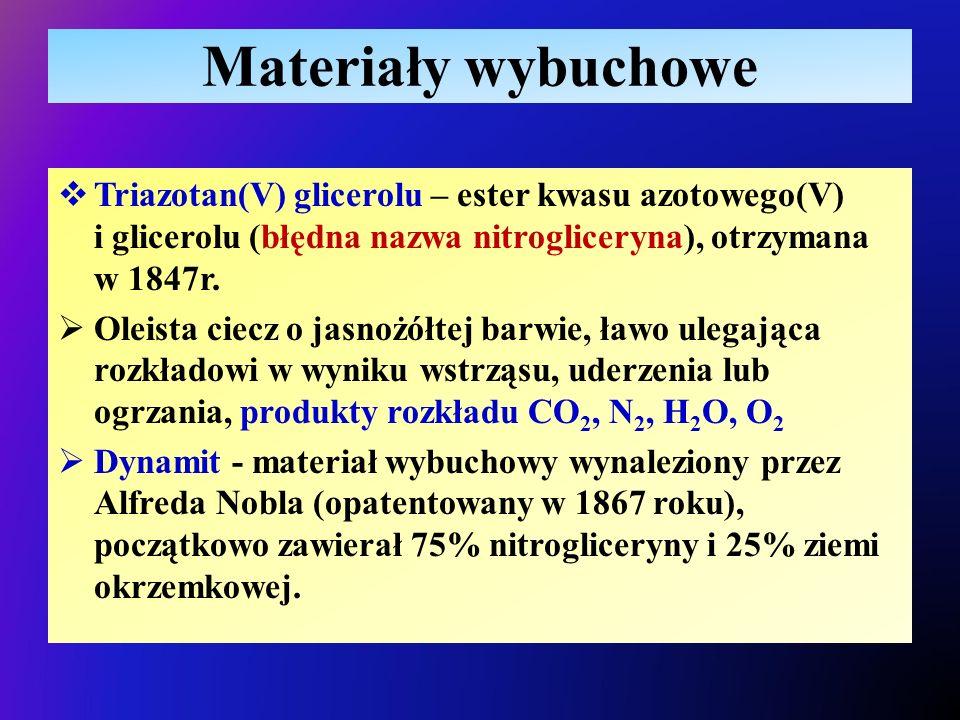 Materiały wybuchowe  Triazotan(V) glicerolu – ester kwasu azotowego(V) i glicerolu (błędna nazwa nitrogliceryna), otrzymana w 1847r.