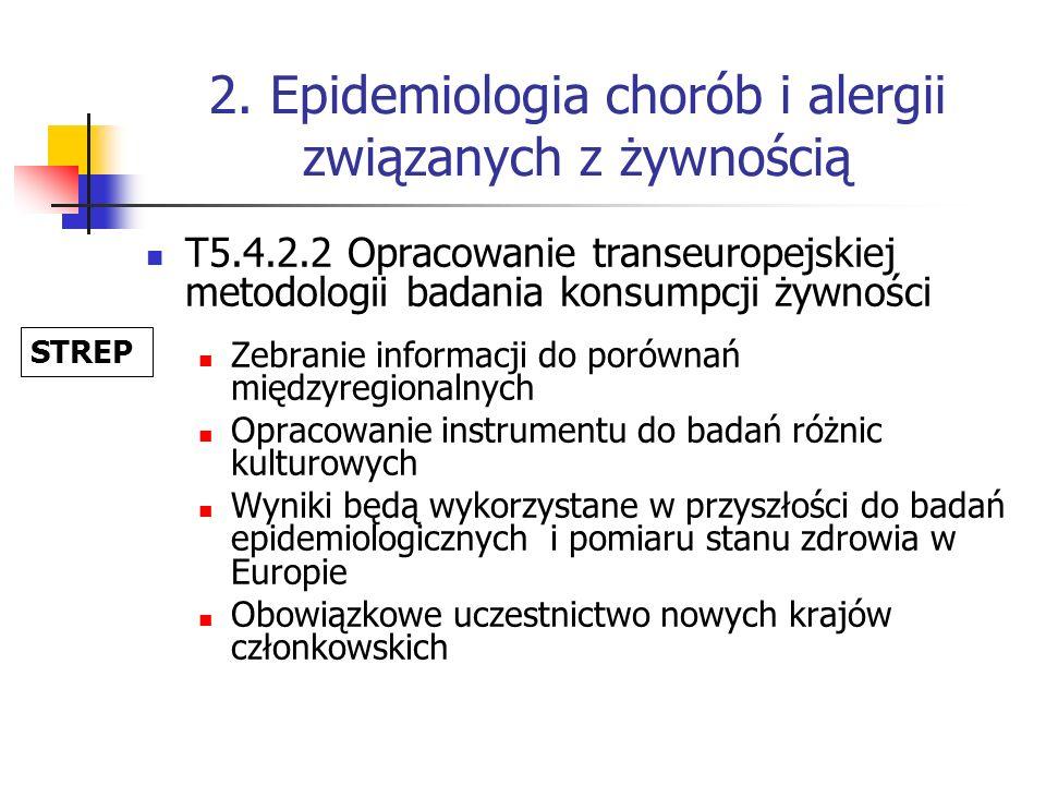 2. Epidemiologia chorób i alergii związanych z żywnością T5.4.2.2 Opracowanie transeuropejskiej metodologii badania konsumpcji żywności Zebranie infor