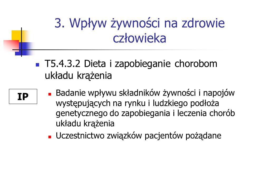 3. Wpływ żywności na zdrowie człowieka T5.4.3.2 Dieta i zapobieganie chorobom układu krążenia Badanie wpływu składników żywności i napojów występujący
