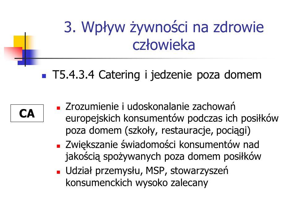3. Wpływ żywności na zdrowie człowieka T5.4.3.4 Catering i jedzenie poza domem Zrozumienie i udoskonalanie zachowań europejskich konsumentów podczas i
