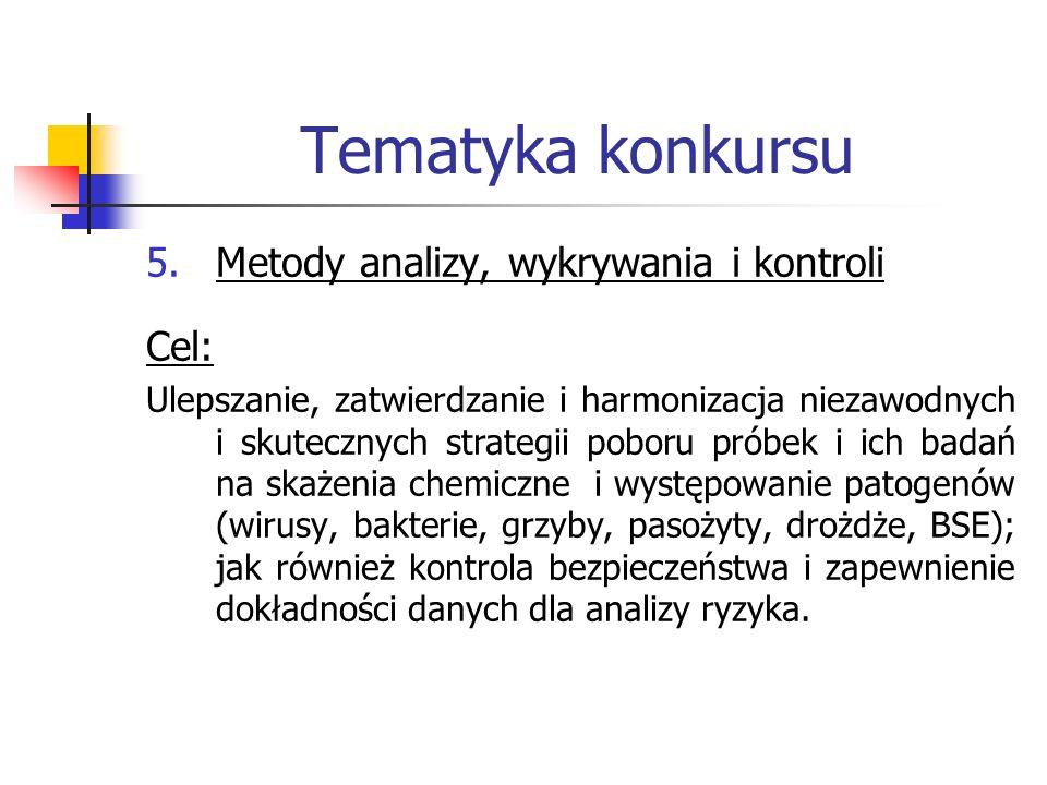 Tematyka konkursu 5.Metody analizy, wykrywania i kontroli Cel: Ulepszanie, zatwierdzanie i harmonizacja niezawodnych i skutecznych strategii poboru pr