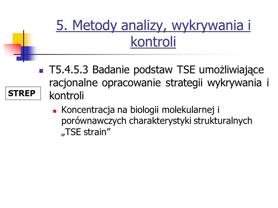 5. Metody analizy, wykrywania i kontroli T5.4.5.3 Badanie podstaw TSE umożliwiające racjonalne opracowanie strategii wykrywania i kontroli Koncentracj