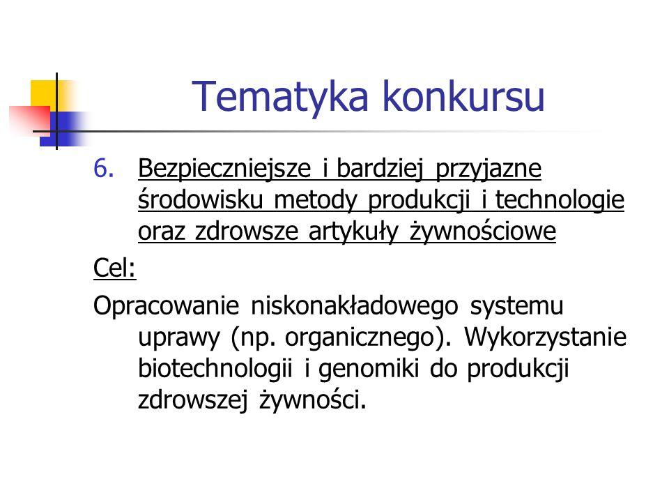 Tematyka konkursu 6.Bezpieczniejsze i bardziej przyjazne środowisku metody produkcji i technologie oraz zdrowsze artykuły żywnościowe Cel: Opracowanie