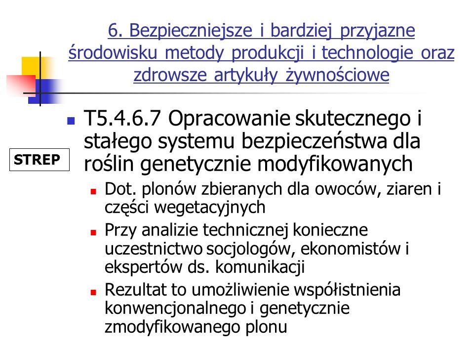 6. Bezpieczniejsze i bardziej przyjazne środowisku metody produkcji i technologie oraz zdrowsze artykuły żywnościowe T5.4.6.7 Opracowanie skutecznego