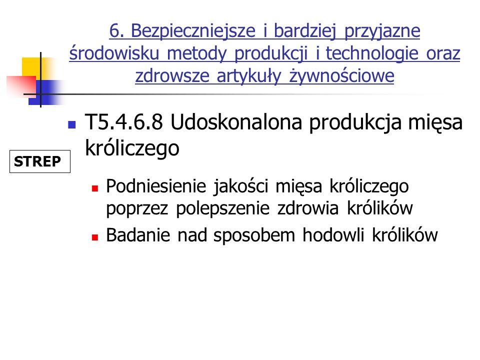 6. Bezpieczniejsze i bardziej przyjazne środowisku metody produkcji i technologie oraz zdrowsze artykuły żywnościowe T5.4.6.8 Udoskonalona produkcja m