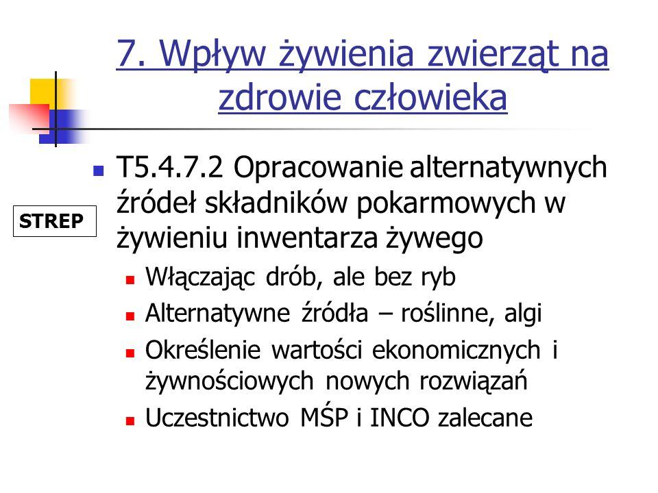 7. Wpływ żywienia zwierząt na zdrowie człowieka T5.4.7.2 Opracowanie alternatywnych źródeł składników pokarmowych w żywieniu inwentarza żywego Włączaj