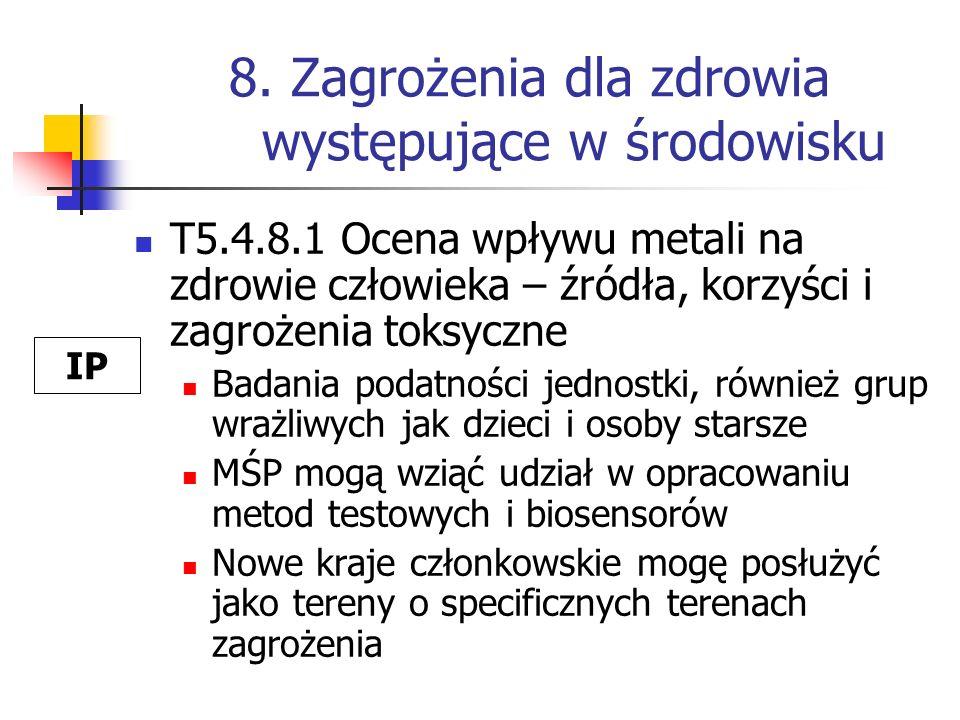 8. Zagrożenia dla zdrowia występujące w środowisku T5.4.8.1 Ocena wpływu metali na zdrowie człowieka – źródła, korzyści i zagrożenia toksyczne Badania