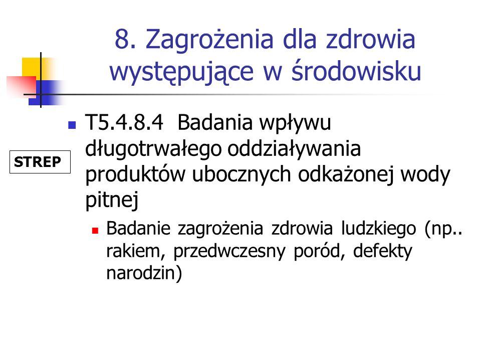 8. Zagrożenia dla zdrowia występujące w środowisku T5.4.8.4 Badania wpływu długotrwałego oddziaływania produktów ubocznych odkażonej wody pitnej Badan