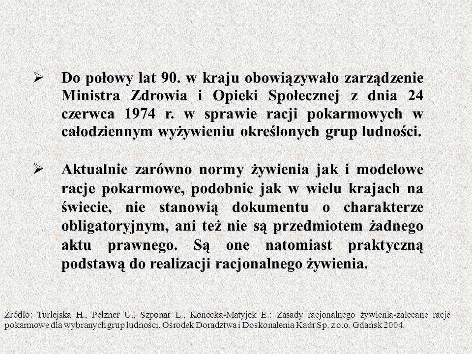  Do połowy lat 90. w kraju obowiązywało zarządzenie Ministra Zdrowia i Opieki Społecznej z dnia 24 czerwca 1974 r. w sprawie racji pokarmowych w cało