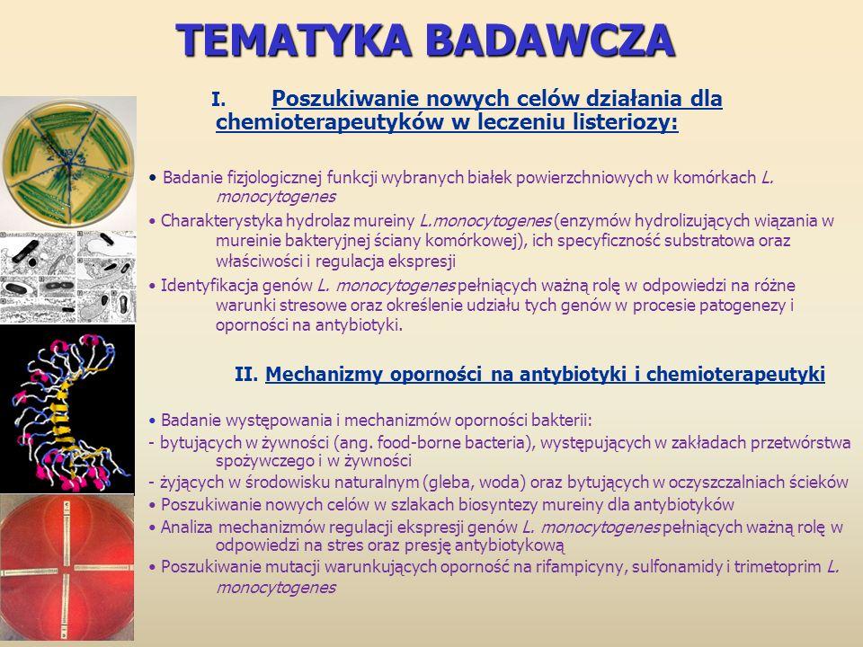 TEMATYKA BADAWCZA I. Poszukiwanie nowych celów działania dla chemioterapeutyków w leczeniu listeriozy: Badanie fizjologicznej funkcji wybranych białek