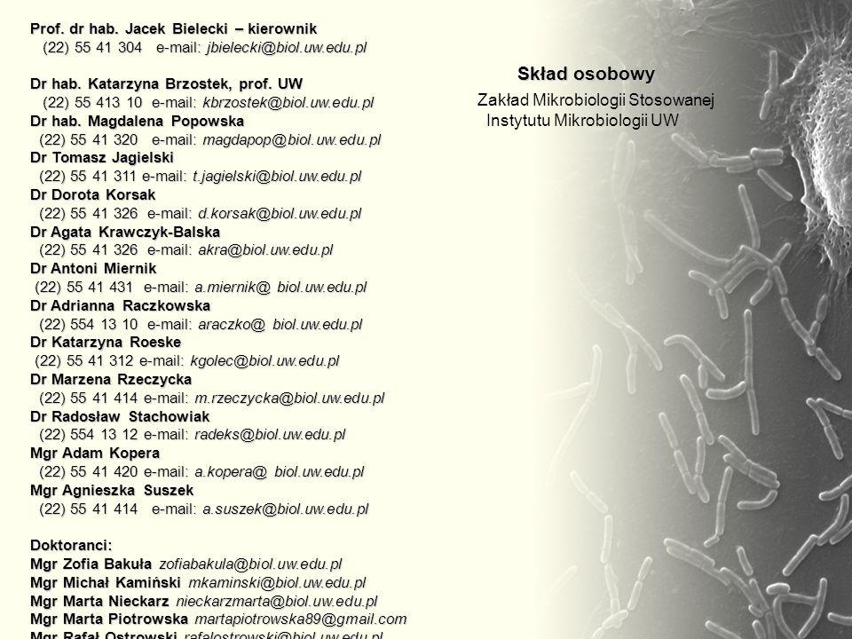 Prof. dr hab. Jacek Bielecki – kierownik (22) 55 41 304 e-mail: jbielecki@biol.uw.edu.pl Dr hab. Katarzyna Brzostek, prof. UW (22) 55 413 10 e-mail: k