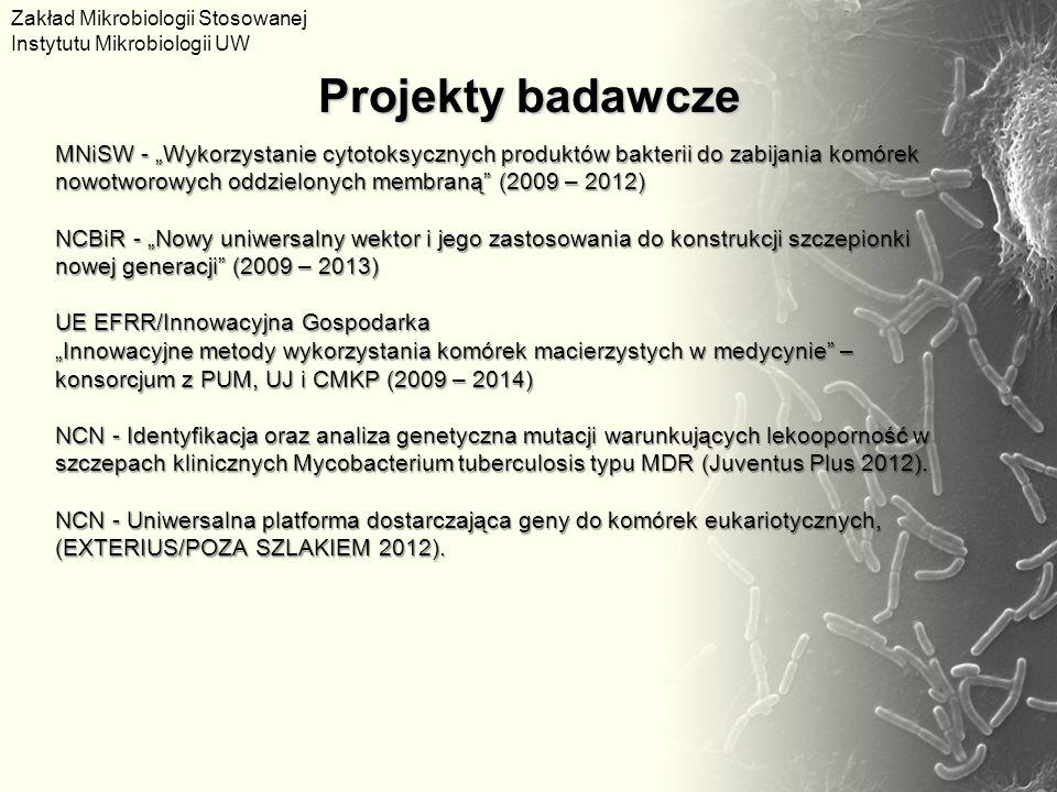 """MNiSW - """"Wykorzystanie cytotoksycznych produktów bakterii do zabijania komórek nowotworowych oddzielonych membraną"""" (2009 – 2012) NCBiR - """"Nowy uniwer"""