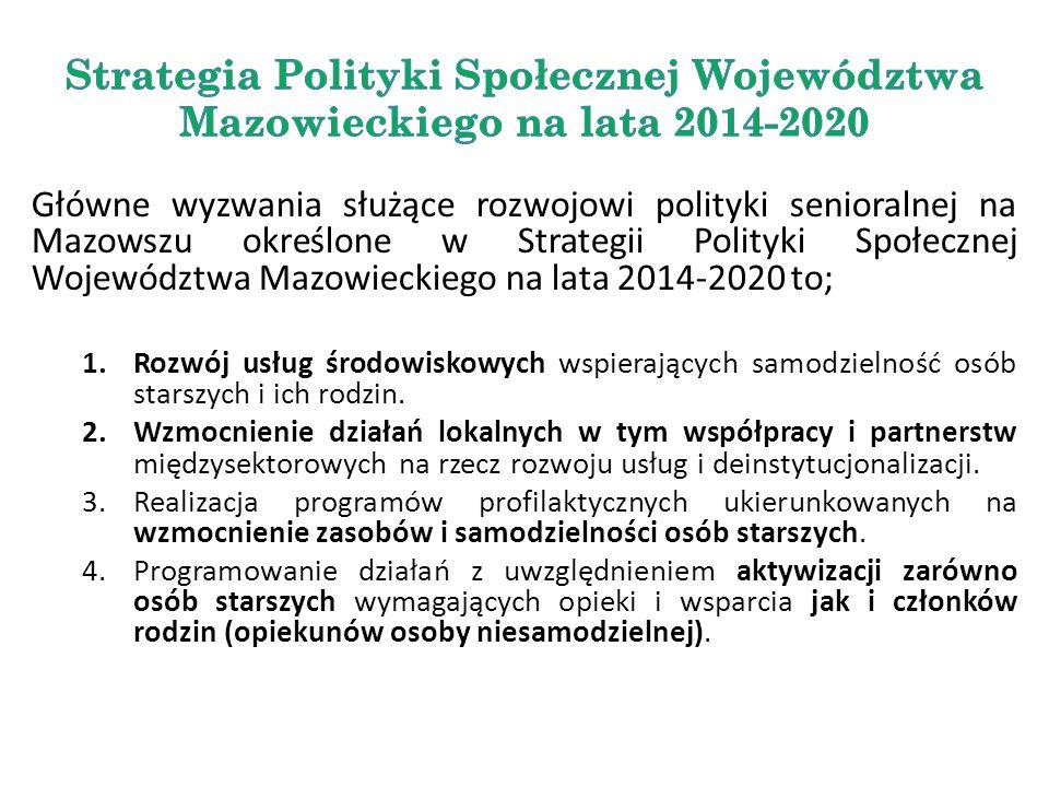 Główne wyzwania służące rozwojowi polityki senioralnej na Mazowszu określone w Strategii Polityki Społecznej Województwa Mazowieckiego na lata 2014-20