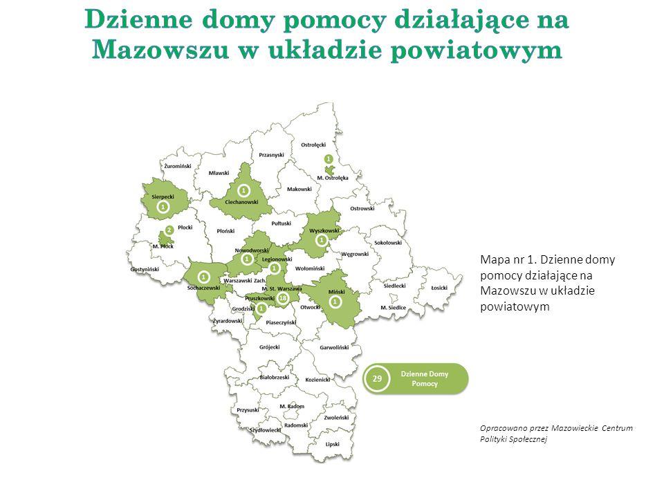 Mapa nr 1. Dzienne domy pomocy działające na Mazowszu w układzie powiatowym Opracowano przez Mazowieckie Centrum Polityki Społecznej