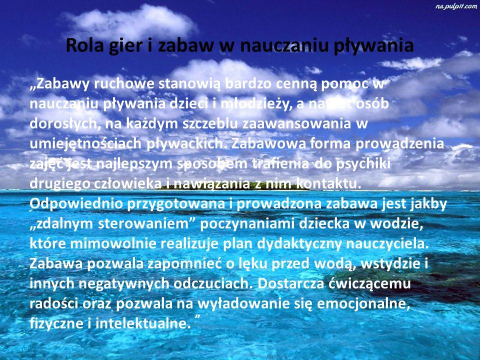 """Rola gier i zabaw w nauczaniu pływania """"Zabawy ruchowe stanowią bardzo cenną pomoc w nauczaniu pływania dzieci i młodzieży, a nawet osób dorosłych, na każdym szczeblu zaawansowania w umiejętnościach pływackich."""
