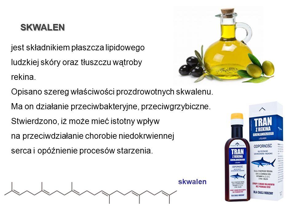 SKWALEN jest składnikiem płaszcza lipidowego ludzkiej skóry oraz tłuszczu wątroby rekina. Opisano szereg właściwości prozdrowotnych skwalenu. Ma on dz