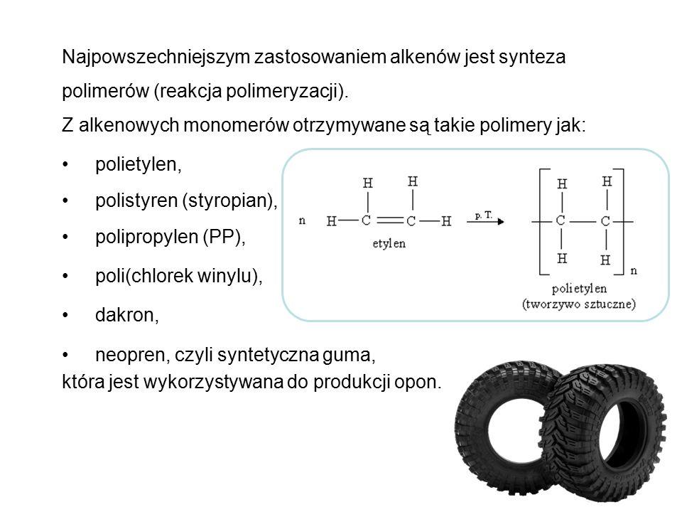 Najpowszechniejszym zastosowaniem alkenów jest synteza polimerów (reakcja polimeryzacji). Z alkenowych monomerów otrzymywane są takie polimery jak: po