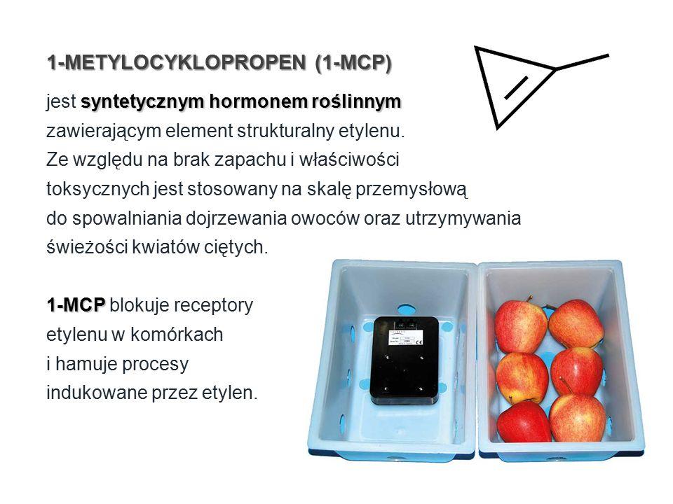 1-METYLOCYKLOPROPEN (1-MCP) syntetycznym hormonem roślinnym jest syntetycznym hormonem roślinnym zawierającym element strukturalny etylenu.