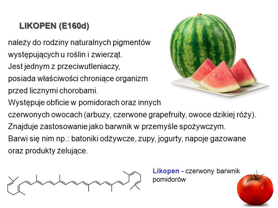 LIKOPEN(E160d) LIKOPEN (E160d) Likopen - czerwony barwnik pomidorów należy do rodziny naturalnych pigmentów występujących u roślin i zwierząt. Jest je