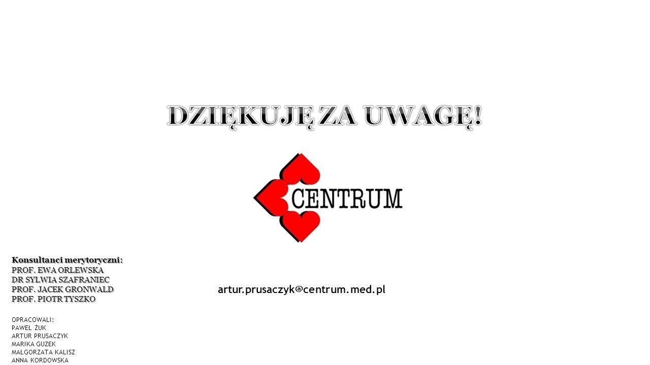 ) OPRACOWALI: PAWEŁ ŻUK ARTUR PRUSACZYK MARIKA GUZEK MAŁGORZATA KALISZ ANNA KORDOWSKA artur.prusaczyk@centrum.med.pl Konsultanci merytoryczni: PROF.