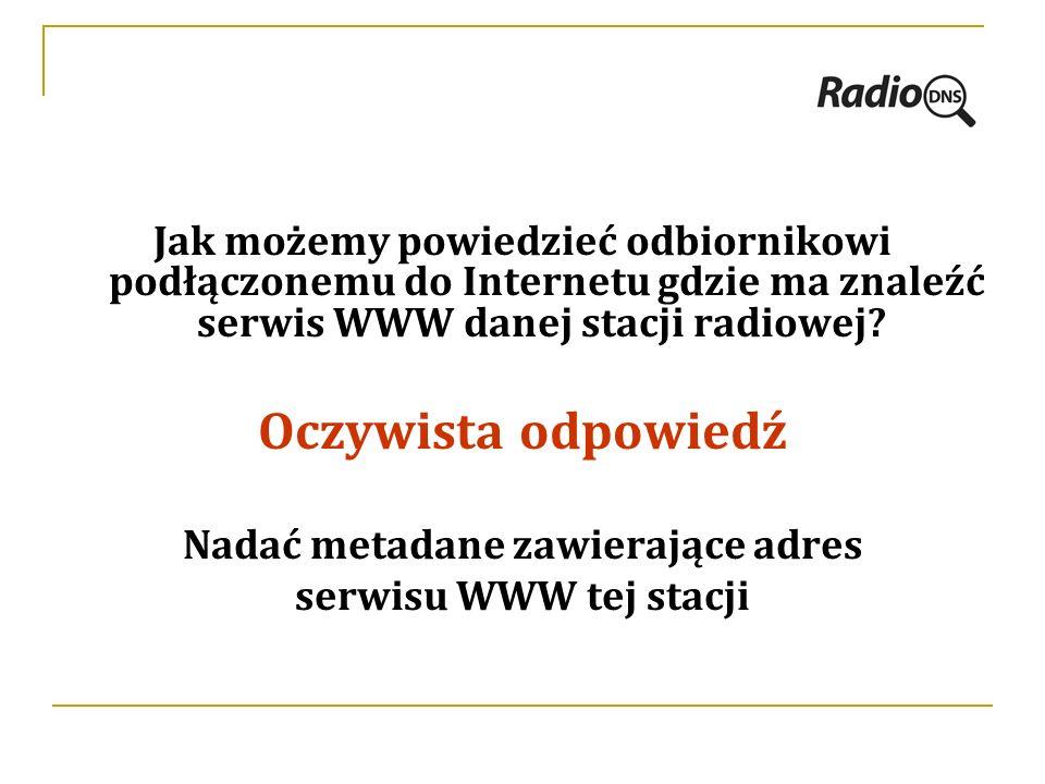 Jak możemy powiedzieć odbiornikowi podłączonemu do Internetu gdzie ma znaleźć serwis WWW danej stacji radiowej.