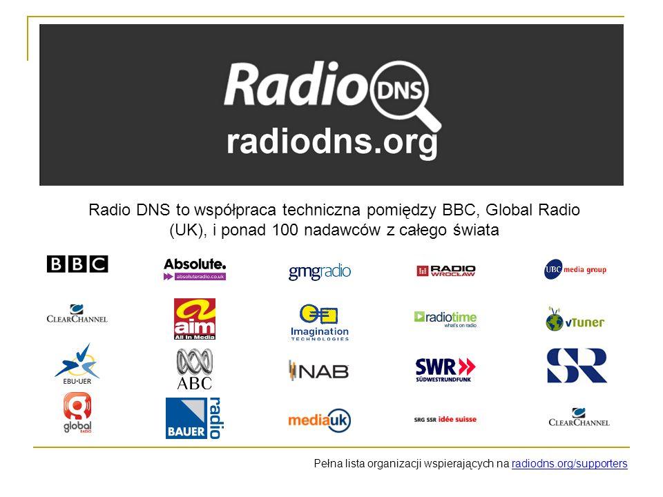 Radio DNS to współpraca techniczna pomiędzy BBC, Global Radio (UK), i ponad 100 nadawców z całego świata Pełna lista organizacji wspierających na radiodns.org/supporters