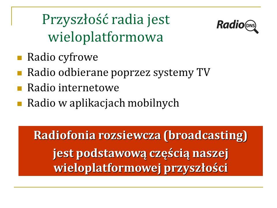 Przyszłość radia jest wieloplatformowa Radio cyfrowe Radio odbierane poprzez systemy TV Radio internetowe Radio w aplikacjach mobilnych Radiofonia rozsiewcza (broadcasting) jest podstawową częścią naszej wieloplatformowej przyszłości