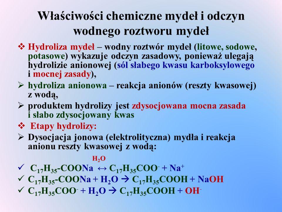 Właściwości chemiczne mydeł i odczyn wodnego roztworu mydeł  Hydroliza mydeł – wodny roztwór mydeł (litowe, sodowe, potasowe) wykazuje odczyn zasadowy, ponieważ ulegają hydrolizie anionowej (sól słabego kwasu karboksylowego i mocnej zasady),  hydroliza anionowa – reakcja anionów (reszty kwasowej) z wodą,  produktem hydrolizy jest zdysocjowana mocna zasada i słabo zdysocjowany kwas  Etapy hydrolizy:  Dysocjacja jonowa (elektrolityczna) mydła i reakcja anionu reszty kwasowej z wodą: C 17 H 35 -COONa ↔ C 17 H 35 COO - + Na + C 17 H 35 -COONa + H 2 O  C 17 H 35 COOH + NaOH C 17 H 35 COO - + H 2 O  C 17 H 35 COOH + OH -