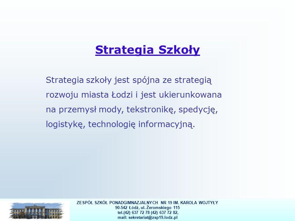 29 Strategia Szkoły Strategia szkoły jest spójna ze strategią rozwoju miasta Łodzi i jest ukierunkowana na przemysł mody, tekstronikę, spedycję, logistykę, technologię informacyjną.